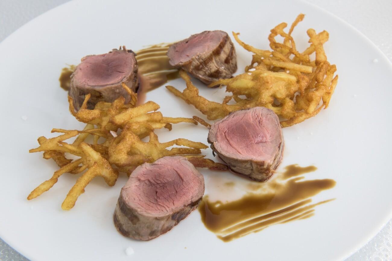 Solomillo de bellota 100% ibérico con patata en tempura
